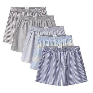 4 Packet Classic Striped Men's Boxers Cotton Mens Underwear Trunks Woven Homme Arrow Panties Loose Boxer Plus Size 4XL 5XL 6XL(China)