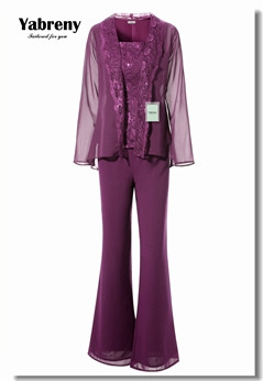 Yabreny Purple Mother of the bride Trousers suit with jacket Elegant Lace outfit MT0017014-3