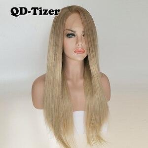 Image 2 - QD Tizer ブロンド髪ロング絹のようなストレートオンブルブロンド色レースフロントかつらグルーレスダークルート合成レースフロントかつら