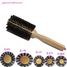 1(шт) Расческа для укладки волос, парик из натуральной щетины, дерево. Профессиональная круглая расческа для волос, инструмент для укладки