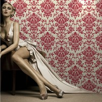 Quality Designer Damask Red Velvet Fine Flocked Fabric Wallpaper Roll Sound Absorbing Living Room Wall Covering