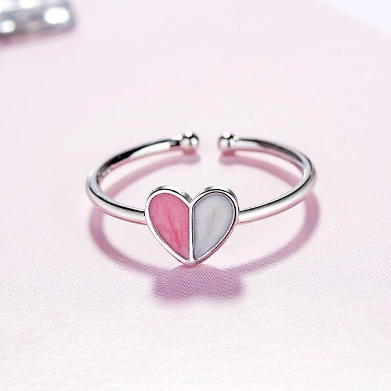 Jisensp Simple Style Silver 925 Rings bague homme Love Peach Heart Ring Original Wedding Jewelry
