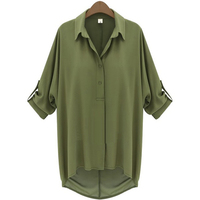 Fastional Casual Blouse Shirt Chiffon Blouse Half Batwing Sleeve Turn Down Collar Solid Blouse For Summer
