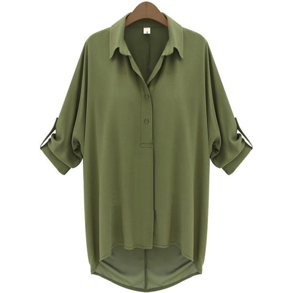 Fastional Casual Blouse Shirt Chiffon Blouse Half Batwing