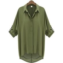 Fastional Повседневная блузка рубашка Шифоновая Блузка Половина рукав «летучая мышь» отложным воротником твердые блузка на лето плюс Размеры Бесплатная доставка