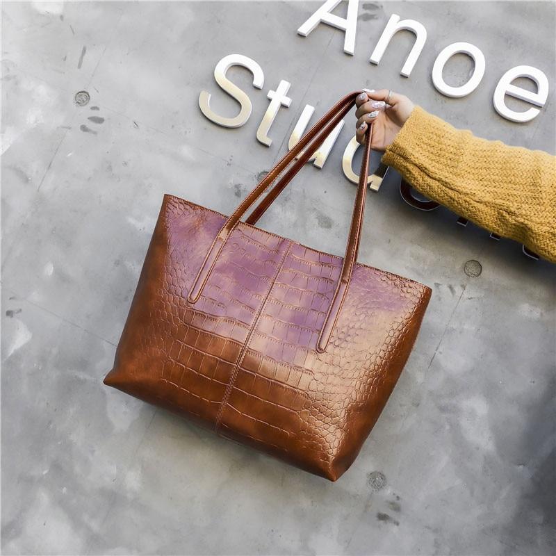 Luxury Crocodile Handbag Women Retro Leisure Large Shoulder Bag Female High Quality Causal Totes for Daily Shopping Big Bag Sac