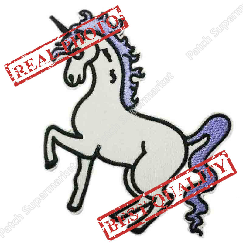 Unicorn Embroidered Logo Iron On Patch Emo Goth Punk Rockabilly