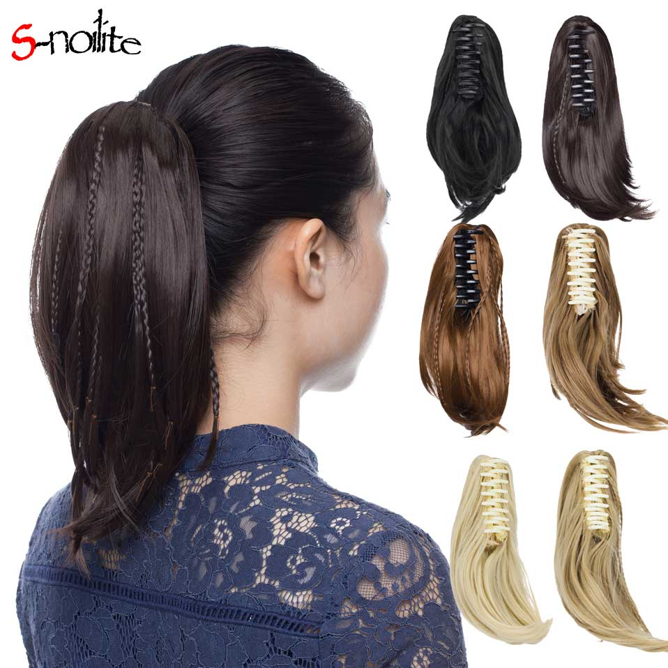 S-noilite 11short Straight Synthetic Braiding Diy Ponytail For Women Clip In Hair Extensions Heat Resistant In Black Brown In Short Supply Synthetic Ponytails Hair Extensions & Wigs