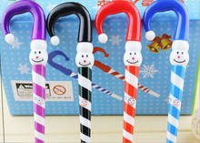 48pcs/lot 0.5mm Blue Novelty Christmas Santa Snowman Umbrella Ballpoint Writing Pens Ballpens Kids Birthday Party Favors Study(China)