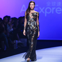 Sunvary Sparkle Sequin Flower Evening Dress Long Sleeve Black Tulle Appliques Party Dress Back Zipper Up