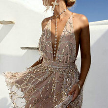 ZOGAA Party dresses Sexy Dresses Women Backless Halter Sequined Mini Dress Spaghetti Strap Tassel Summer Clubwear Vestidos