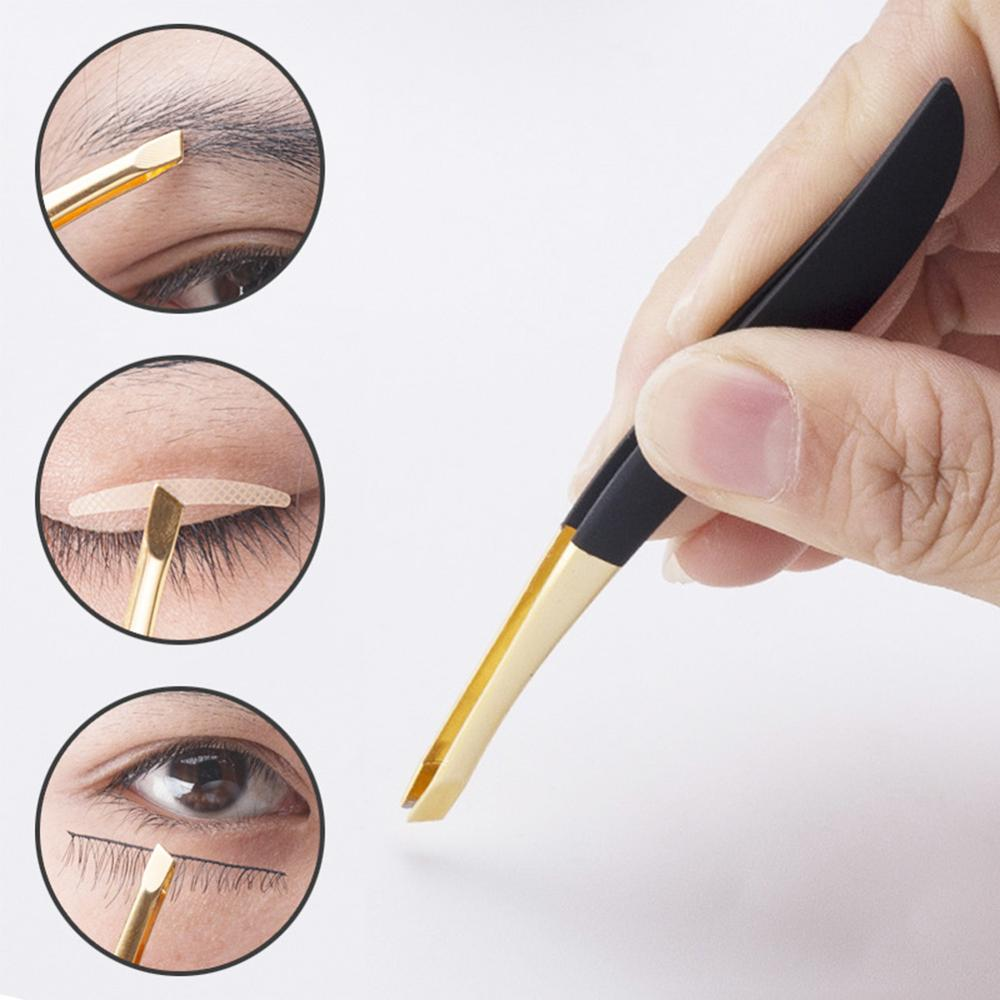 Good Quality Eyebrow Tweezer Golden Head Slanted Stainless Steel Tweezer Trimmer Eyelash Clip Hair Removal Makeup Tool
