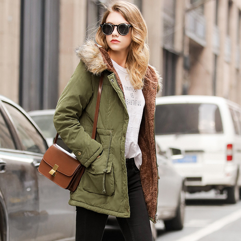 Winter Fur Collar Hooded Long Girls Cotton Coat Large Size 3XL Slim Green Women   Parka   Solid Warm Coat Casual Fashion Streetwear