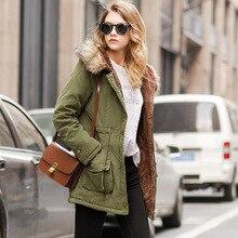 Winter Fur Collar Hooded Long Girls Cotton Coat Large Size 3XL Slim Green Women Parka Solid Warm Coat Casual Fashion Streetwear