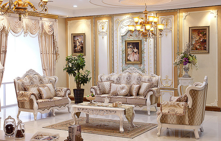 European Style Leather Sofa Luxury Fabric French Neoclassical Villa Living Room In Living Room