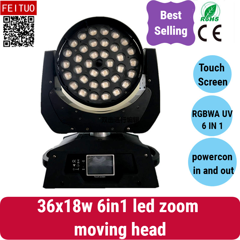 EINE-2/lot touchscreen moving head licht RGBWAUV 6 in 1 36X18 watt ZOOM Moving kopf LED Waschen Leuchte