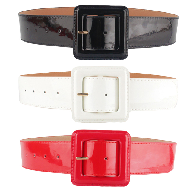 Femmes dames PU cuir ceinture taille unique sangle ceinture (noir/blanc/rouge) BLTLL0039