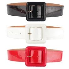 Women Ladies PU Leather Belt One Size Strap Waistband (Black/White/Red)  BLTLL0038