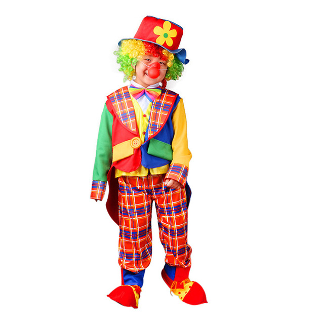 new arrival cute kids circus clown halloween costumes boys girls performance clothing naughty cosplay clothes
