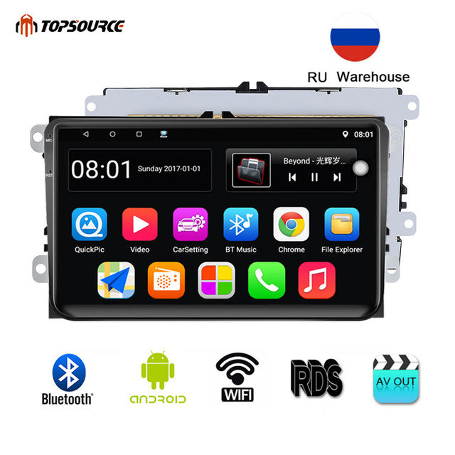 TOPSOURCE Car Multimedia Player 9001RDS Android 2 Din GPS 9 Inch Wifi Car Radio For VW/Volkswagen/POLO/PASSAT/Golf/Skoda/Fabia