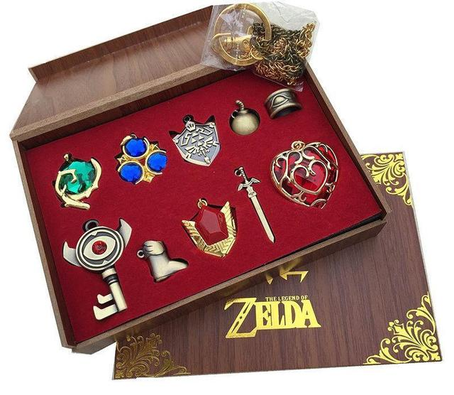 The Legend Of Zelda Logo Cosplay Necklace Keychain Key Chain Pendant 10pcs Set Collection Gift Box