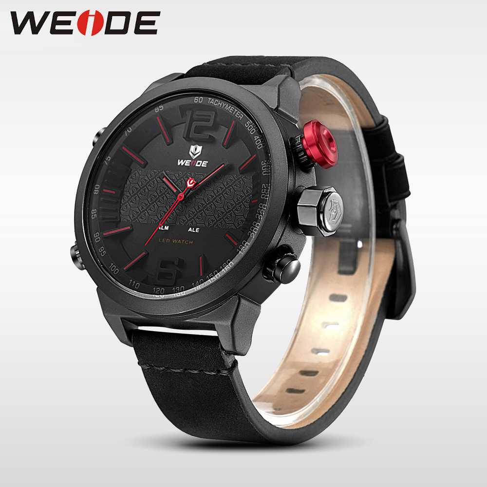 купить Weide Brand Luxury watch New Hot Men Sports leather Watches LED Digital Quartz Wrist Watches business analog men watch steampunk по цене 2118.8 рублей