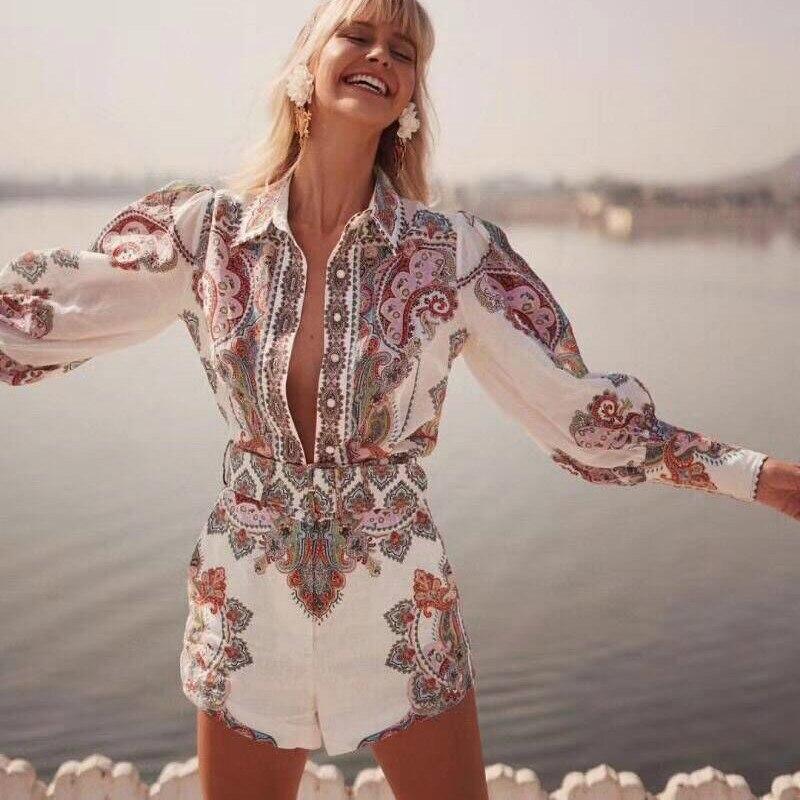 c9c928d05d9 2019 Модные женские комплекты с цветочным принтом в стиле бохо ...