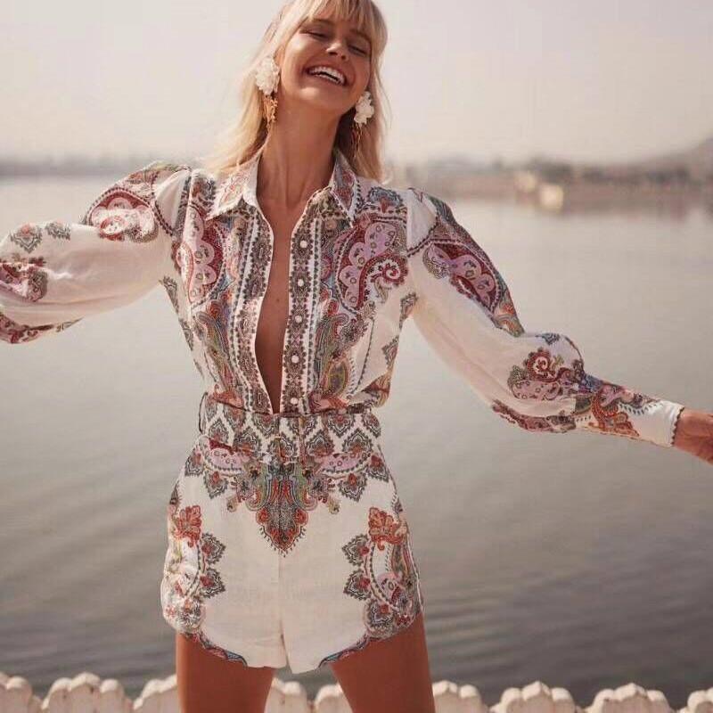 2019 mode femmes Boho imprimé Floral femmes ensembles Blouse et Shorts