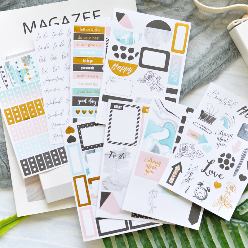 US $3 55 11% OFF|Lovedoki Journal Stickers Kit 8 Pcs Planner Scrapbooking  Decorative Sticker For Filofax Notebook Diary Student School Stationery-in