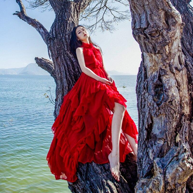 2019 новые летние красные богемные Мути-слои оборки большой подол Феи платья женские Мори отдых пляж платье для девочек праздничная одежда