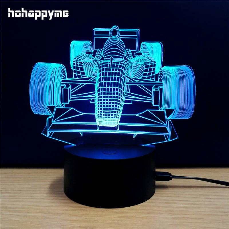 Led Sign Home Decor: Racing Car 3D LED Light Sign Funny Acrylic LED Sign Home