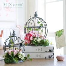 Miz 1 Piece Artificial Flower Home Garden Decoration Accessories Artificial Plants Hanging Birdcage for Home Decor