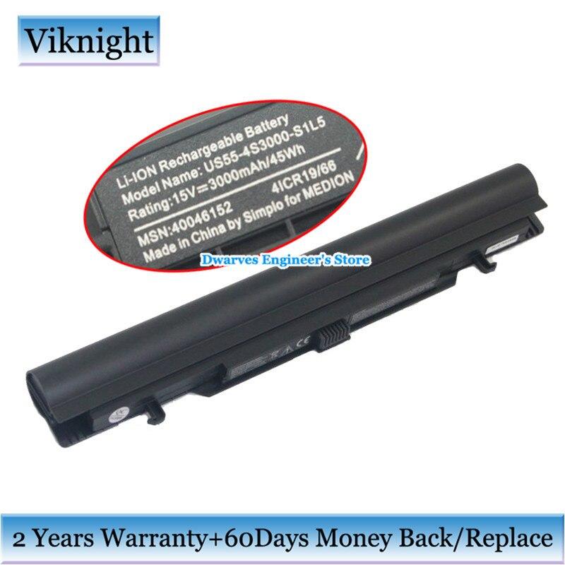 14.4 V 3000 mAh US55-4S3000-S1L5 40046152 4ICR19/66 Batterie D'origine pour Medion Akoya MD98736 S6212T MD99270 S6615T S621xT S6211T