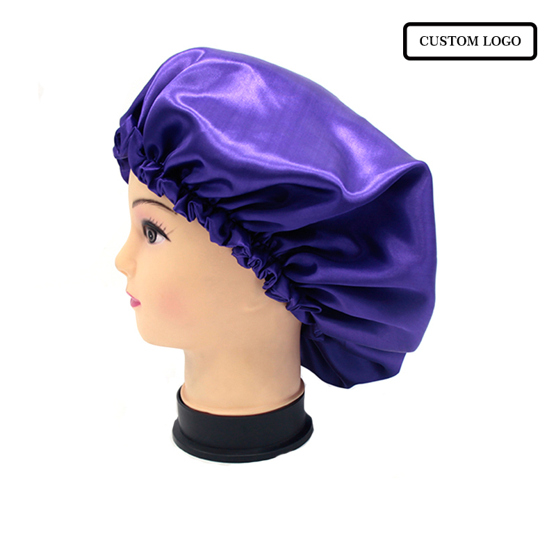 Customized Print Logo Quality Blue Satin Bonnets Caring Extention Wig Hairs Sleep Cap Bath Caps Adult