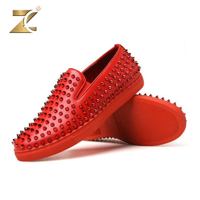Z 2017 Famous Brand Genuine Leather Men Casual Shoes European Men Shoes Metal Rivet Patchwork Loafer Walking Footwear Size 39-44