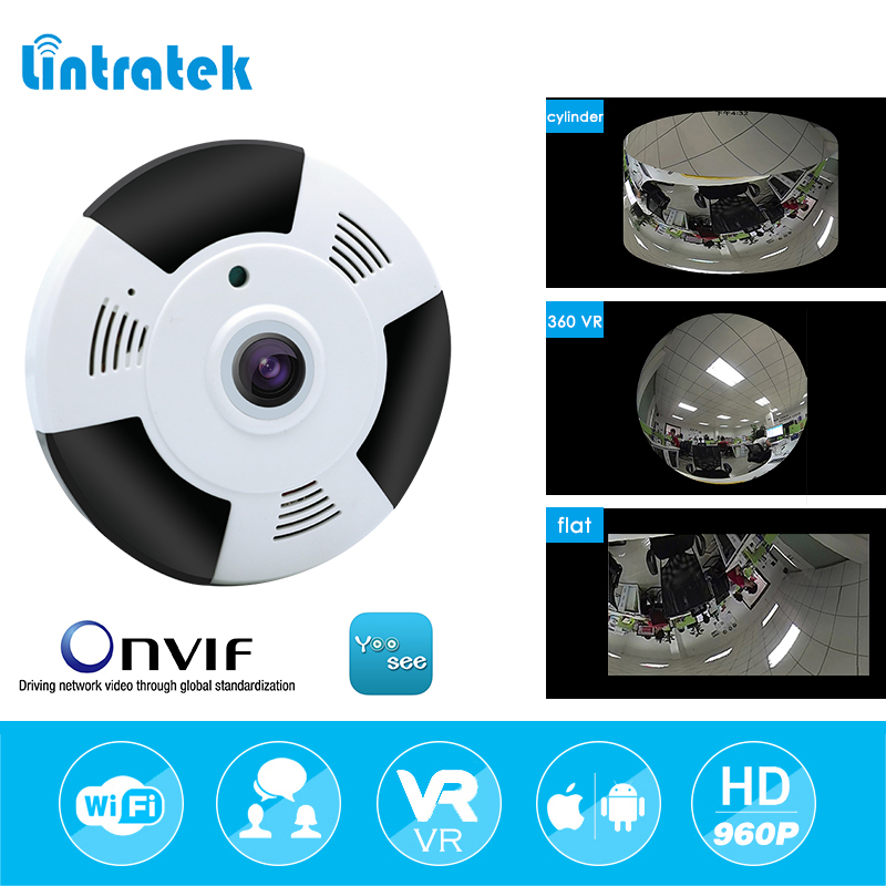 lintratek 360 Degree Panoramic Camera IP 960P 1.3MP Home Security IP Camera Wifi Two Way Audio Camera 1.44mm Fisheye Lens VR CAM