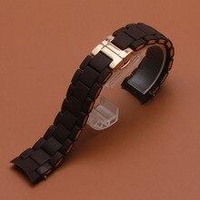 Новая акция ремешок для часов силиконовый резиновый ремешок из нержавеющей стали Rosegold 20 мм 23 мм коричневый ремешок для часов браслеты для 5919 5905 5890