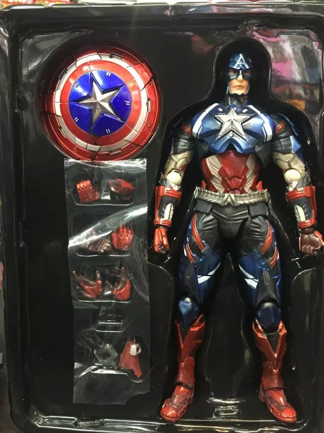 PlayArts KAI Captain America PVC Action Figure Collectible Model Toy 27cm KT1890 anime cartoon doraemon cosplay iron man captain america pvc action figure collectible toy