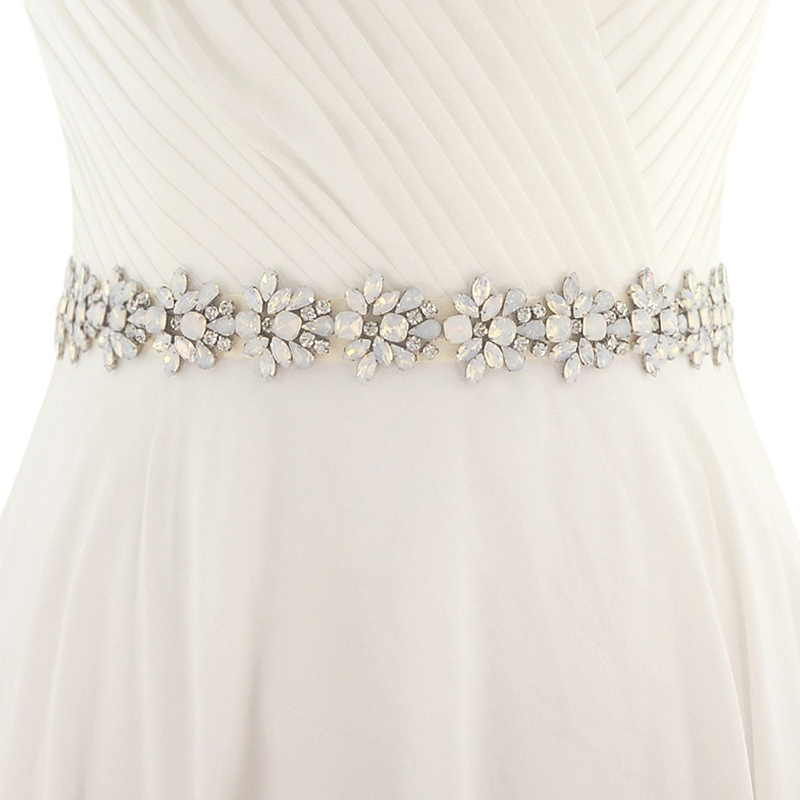 Opal Crystal Bridal Belt Handmade Sash Belt For Wedding Dresses 2019