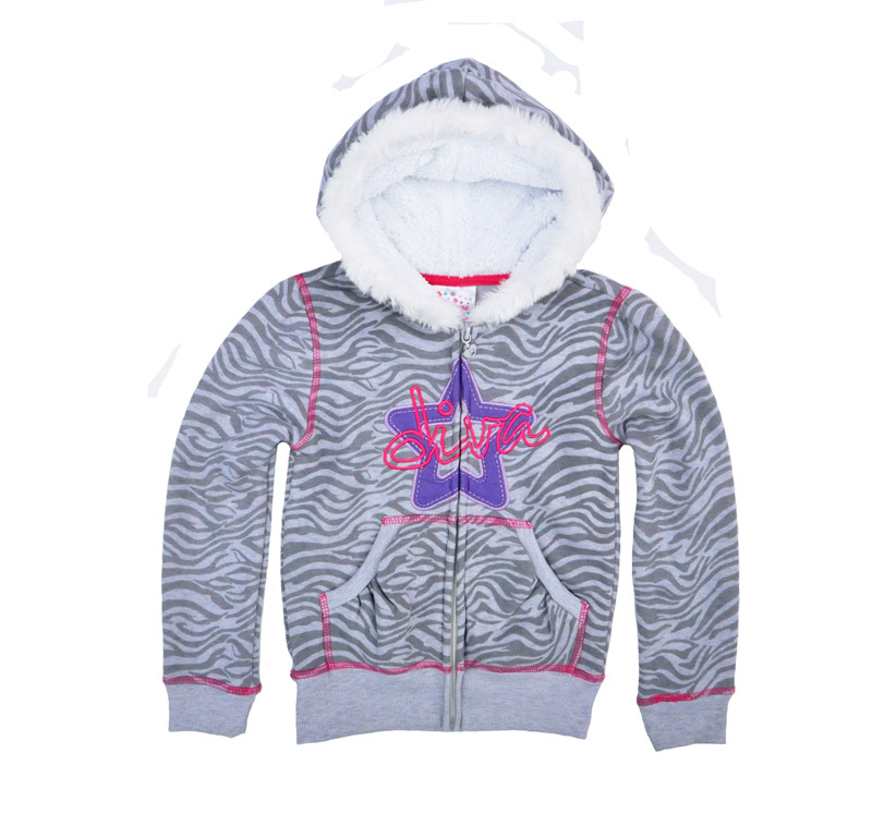 7ac3fc5d2 girl hoodies Zebra Stripe Embroidery Plus velvet jacket children's clothing  cardigan baby girl clothing vetement enfant fille-in Jackets & Coats from  Mother ...