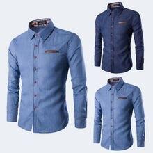 7b698b3aaef46 Moda Slim Fit Kıyafet erkek Batı Casual Mavi Düğme Aşağı denim Uzun Kollu  Gömlek(China