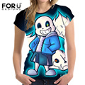 FORUDESIGNS Fashion 3D Undertale Women Basic T shirt O Neck Short Sleeved Lady T-shirt Brand Summer Clothes Tees Girl Asian size
