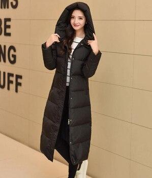 Women Long Down Jacket Full-Length Winter Coat Women 2016 Winter New Arrival Hooded Parka