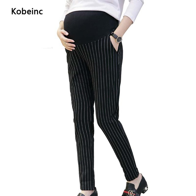 Fashion Striped Maternity Pants Pregnancy Elastic Outwear Trousers 2017 Spring Maternity Clothes Care Belly Pocket Hamile Giyim
