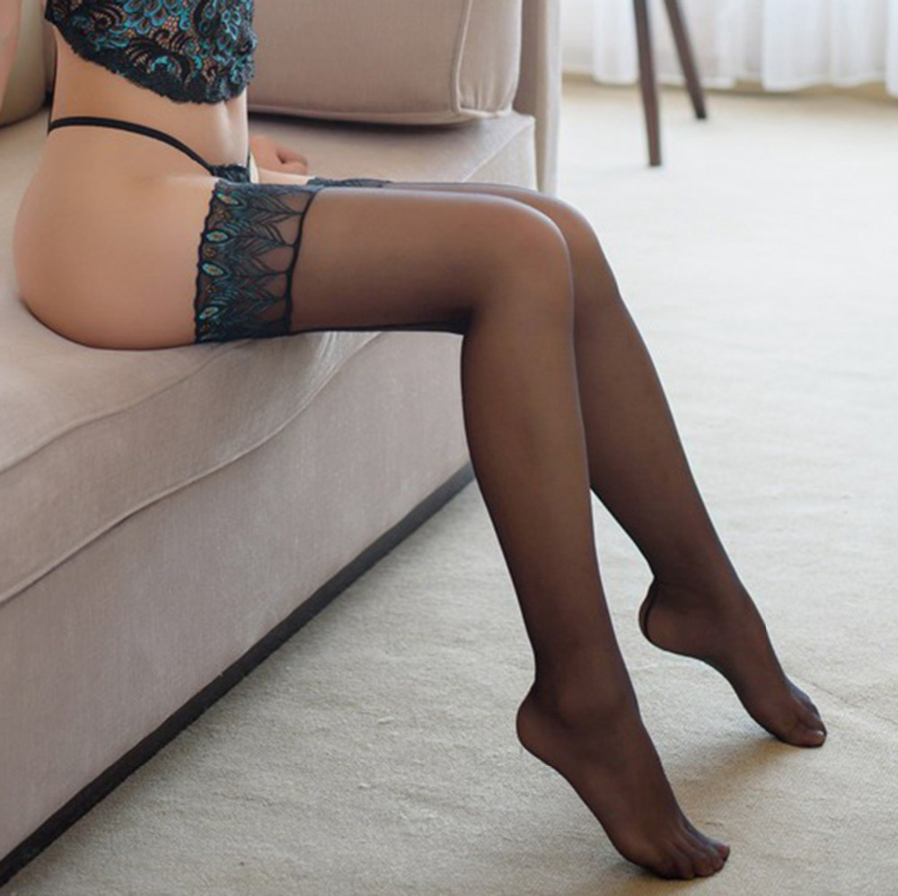 Silicone Sexy Stockings Embroidery Peacock Feathers Stocking Women Striped To Prevent Slipping Medias