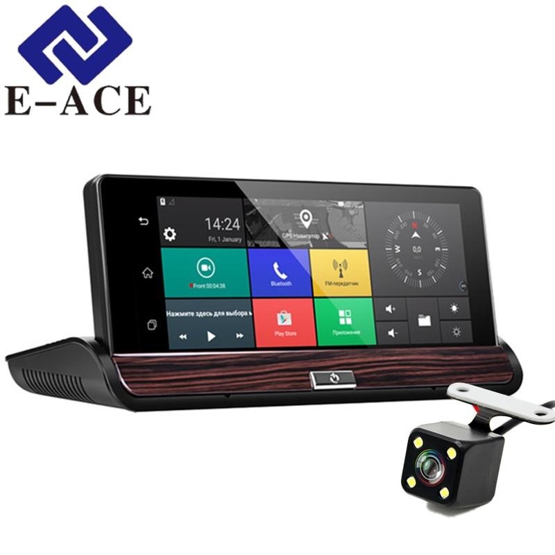 E-ACE 3 Dashcam G 16G Auto Camara Dvr Do GPS Do Carro de Navegação Android 7.0 Polegada Espelho Retrovisor FHD 1080 P gravador de vídeo Wi-fi Bluetooth