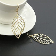 2018 golden leaves eardrop girl female earrings popular contracted metal leaves fine jewelry accessories earrings(China)