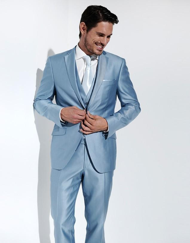 Baby Blue Men Suits Slim Fit Groom Tuxedo Notch Lapel Wedding/Dinner Suits Best Man Bridegroom (Jacket+Pants+Tie+Vest)