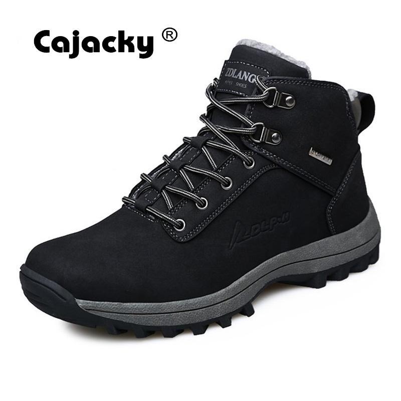 Cajacky Botas Homens da Neve do Inverno Botas de Pelúcia De Alta Qualidade Plus Size 47 46 Masculino Sapatos de Tornozelo Com Pele Quente Moda hombre Botas de Pelúcia