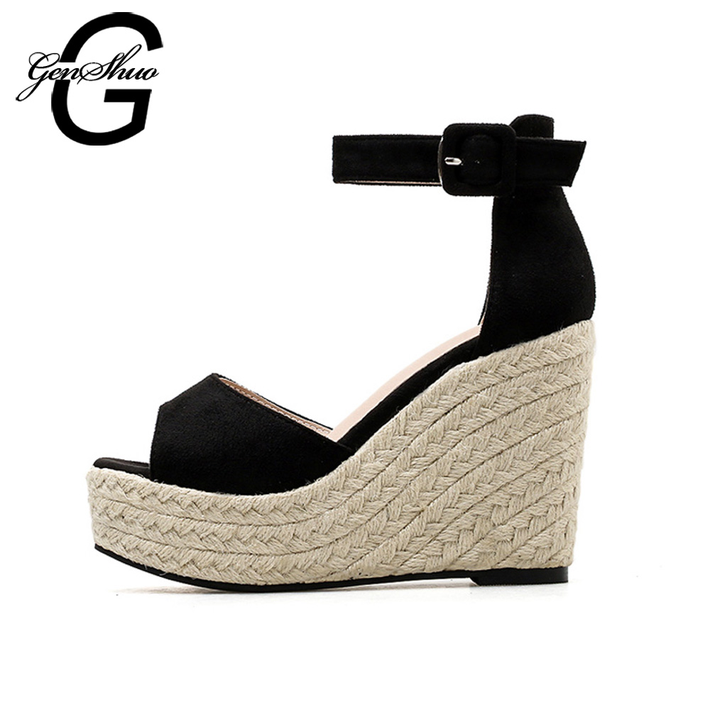 GENSHUO Women Sandals High Heels Wedges Ankle Strap Sandals Platform High Heels Shoes Black Female Wedding Sexy Shoes Thick Heel luxury brand crystal patent leather sandals women high heels thick heel women shoes with heels wedding shoes ladies silver pumps